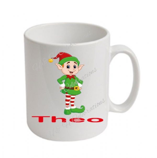 Boy Elf Christmas Personalised Mug